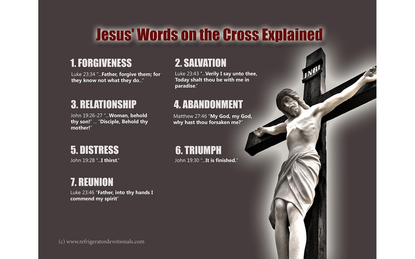 Visual Aid: Jesus' words on the cross | Refrigerator Devotionals