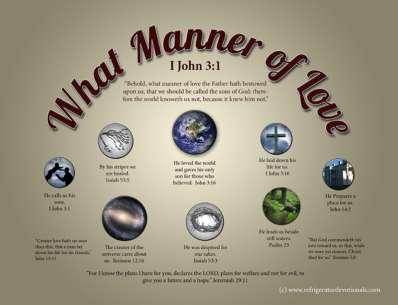 What manner of love.  1 John 3:1 Behold, what manner of love the Father hath bestowed upon us, that we should be called the sons of God: therefore the world knoweth us not, because it knew him not.
