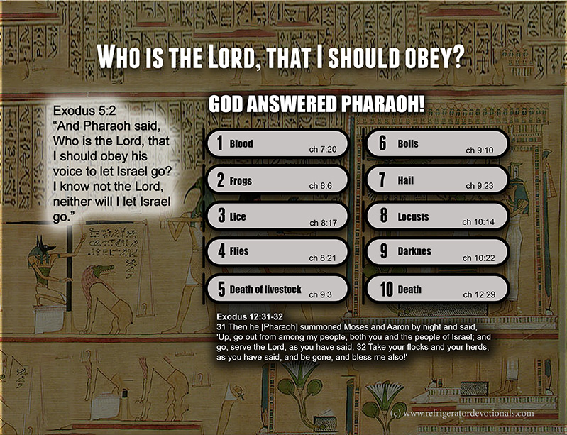 Who is the Lord that I should obey him.  The 10 plagues of Egypt.